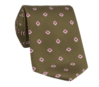 Silk Printed Clover Motif Tie in Bronze