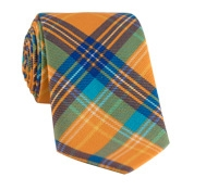 Cotton Plaid Tie in Marigold