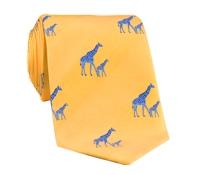 Silk Woven Giraffe Motif Tie in Saffron