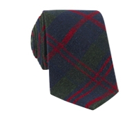 Plaid Shantung Silk Tie in Forest, Navy and Cranberry