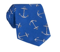 Silk Woven Anchor Tie in Royal