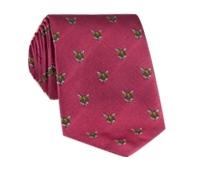 Silk Woven Fox Motif Tie in Strawberry