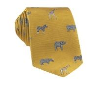 Jacquard Woven Animal Motif Tie in Marigold
