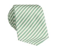 Silk Striped Tie in White and Grass