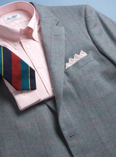 Wool/Cotton/Cashmere Sky and Cream Windowpane