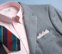 Wool/Cotton/Cashmere Sky and Cream Windowpane