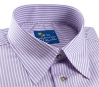 Lilac and White Stripe Charleston Shirt in Linen & Cotton