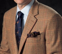 Sand and Sage Glen Plaid Cashmere Sport Coat with Orange Windowpane