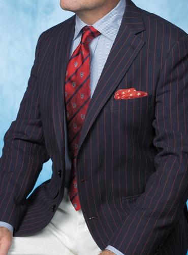 Navy Blue Sport Coat with Fire Red Pinstripe