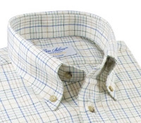 Cotton and Cashmere Button Down in Cream with Multi-Colored Grid