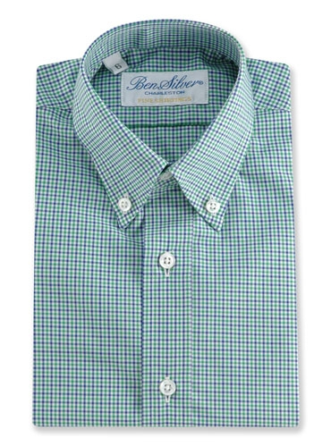 Boys Shirt Blue/Green Small Gingham Buttondown