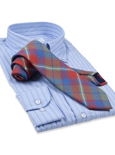 Wool Woven Plaid Tie in Chili and Pacific