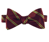 Silk Stripe Bow Tie in Wine and Kelly Green