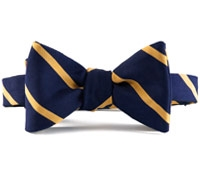 Mogador Silk Bar Stripe Bow in Navy with Gold