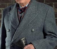 Dark Grey Herringbone Tweed Polo Coat