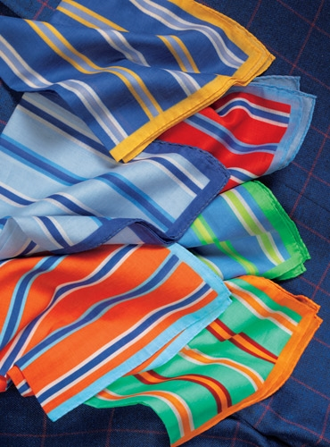 Cotton Stripe Pocket Squares