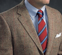Tan and Brown Basketweave Harris Tweed Sport Coat with Deep Claret Overcheck