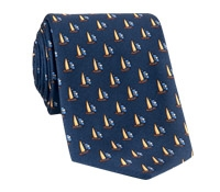 Silk Sailboat Printed Tie in Navy