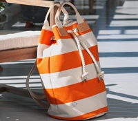 Canvas Striped Bucket Bag in Orange