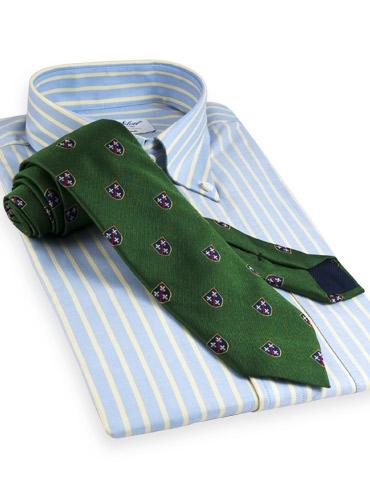 Silk Woven Crest Tie in Malachite