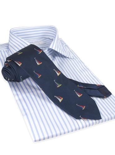 Silk Woven Sailboat Tie in Navy