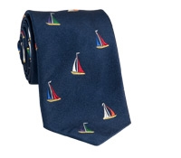 Silk Woven Sailboat Tie in Navy