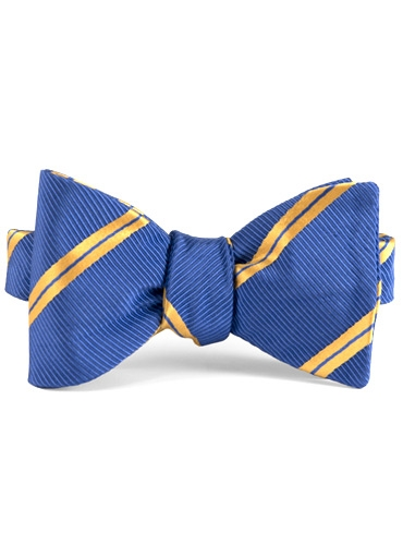 Mogador Silk Double Stripe Bow in Blue with Saffron