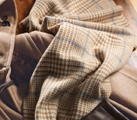 Cashmere Heritage Check Scarf in Cream and Wheat with Powder Blue Windowpane
