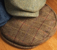 Wool Helmsley Cap in Chestnut Herringbone with Autumnal Windowpanes