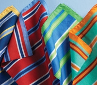 Cotton Pocket Squares with Printed Stripes