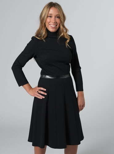 Mock Turtleneck Jersey Dress in Black