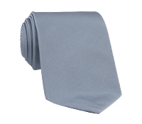 Woven Silk Solid Tie in Silver