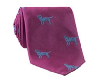 Silk Woven Lab Motif Tie in Magenta and Royal Blue