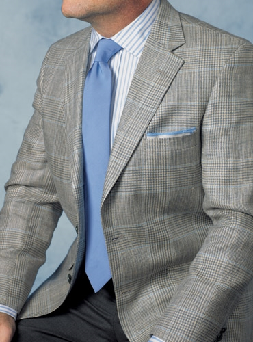 Champagne and Madder Blue Glen Plaid Sport Coat with Sky Windowpane