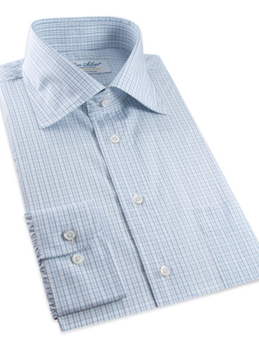 170's White with Blue Graph Check Spread Collar