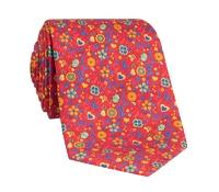 Silk Floral Printed Tie in Ruby