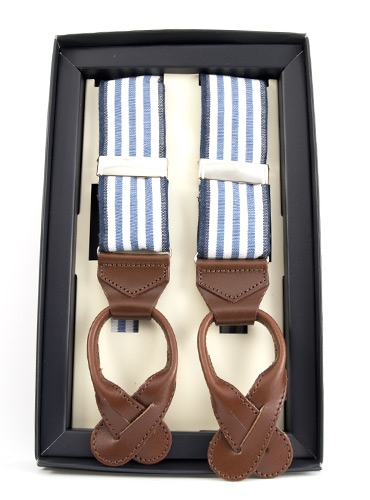 Oxford Triple Stripe Braces in Cobalt with Navy
