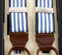 Oxford Triple Stripe Braces in Cobalt with Navy