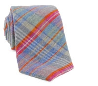 Grey Plaid Cotton/Wool Tie