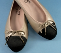 Ladies Flats in Champagne with Black Grosgrain Toe