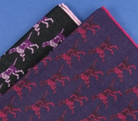 Wool and Silk Pointer Motif Pocket Square