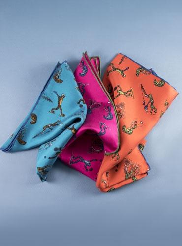 Silk Printed Sporting Frog Pocket Squares