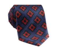 Silk Diamond Motif Tie in Navy