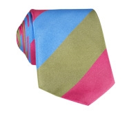 Silk Block Stripe Tie in Fuchsia, Sky and Sage