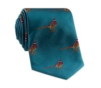 Jacquard Woven Pheasant Motif Tie in Teal
