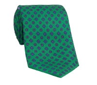 Silk Printed Tie With Flower and Diamond Motif in Kelly
