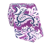 Silk Printed Paisley Tie in Orchid