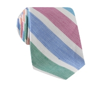 Linen Stripe Tie in Tangerine and Grass