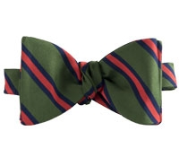 Mogador Silk Stripe Bow Tie in Leaf and Chilli