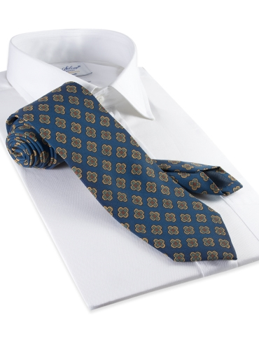 Silk Diamond Motif Tie in Oxford Blue
